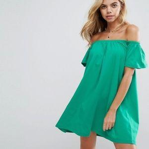ASOS PETITE Green Off The Shoulder Mini Dress - 8